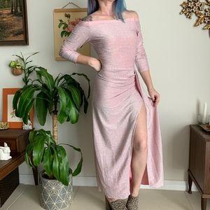 Vintage Slinky Sparkle Wiggle Slit Dress